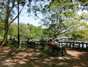 池の近くではのんびりとくつろぐ人たちが