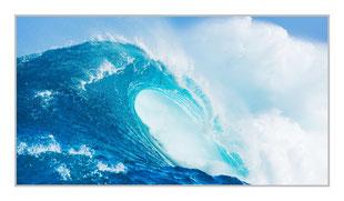 """Bildheizung """"Welle"""" 600 Watt, 110x60cm, hier mit Silberrahmen, zum Vergrößern anklicken!"""