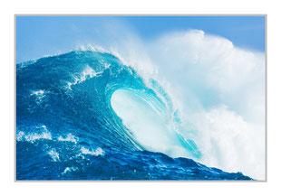 """Bildheizung """"Welle"""" 450 Watt, 90x60cm, hier mit Silberrahmen, zum Vergrößern anklicken!"""