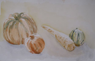 Automne-peinture à l'eau sur papier. 30x47