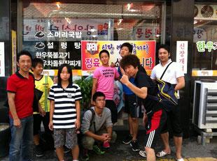 豊生高校で強化合宿中の熊本選手団と留学中の西村純選手