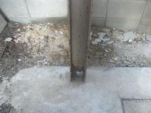 鉄骨柱腐食部補強工事:工事前