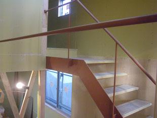 室内スチール階段手摺:工事後