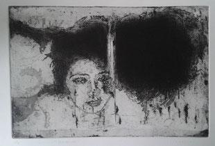 """poils de tête"" 2018  Eaux-fortes, aquatintes 20×30"