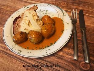 Blumenkohlbombe mit Kartoffeln und Rahmsoße aus der Ofenhexe von Pampered Chef®
