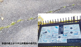 道路の亀裂や盛上り、文字が読めなくなっている看板の写真