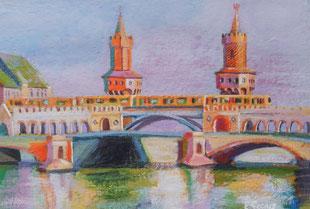 """""""Oberbaumbrücke"""" - 20 x 30 cm - Acrylfarbe auf Papier"""