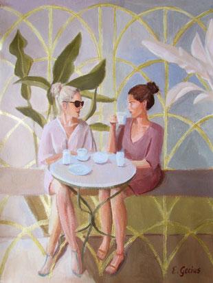 Wandkarte mit Cafészene. Zwei Frauen sitzen am Tisch und drinken Tee. Originalgemälde mit Acrylfarben auf Leinwand in einer Teakholz Posterschiene.