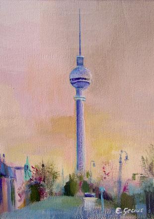 """Fernsehturm II"" - 13 x 18 cm - Acrylfarbe auf Malkarton"