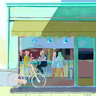 Wandkarte mit Cafészene. Menschen sitzen in einem Café. Digitaldruck auf Leinwand mit magnetischer Posterschiene aus Teakholz.