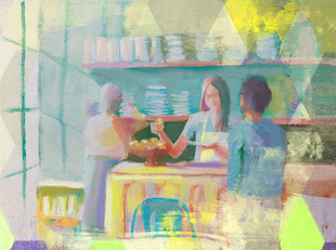 Painting of a of a coffee shop as a print of my digital painting. Painting with blue, yellow, purple and green as primary colors.