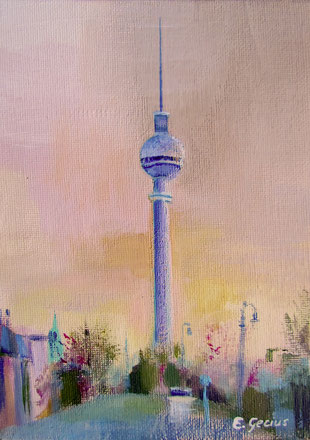 """TV Tower II"" - 13 x 18 cm - Acrylic colors on canvas panel - SOLD"