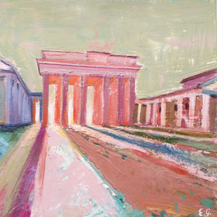 """Brandenburger Tor"" - 20 x 20 x 3 cm - Acrylfarbe auf Holzplatte"