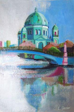 """Berlin Cathedral"" - 20 x 30 cm - Acrylfarbe auf Papier - VERKAUFT"