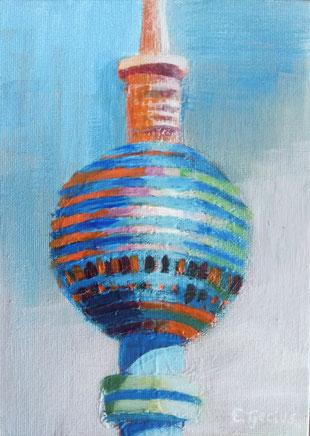 """Fernsehturm III"" - 13 x 18 cm - Acrylfarbe auf Malkarton"