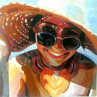 "Women painting ""Elena"" 70 x 70 cm (27,6 x 27,6 inches)"