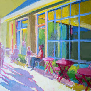 "Bild eines Cafés // 20 x 20 cm // Acryl auf Malkarton Café ""Beachside"""