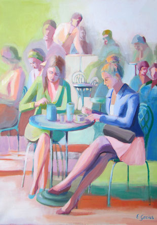 Café painting print with two women sitting and drinking coffee.