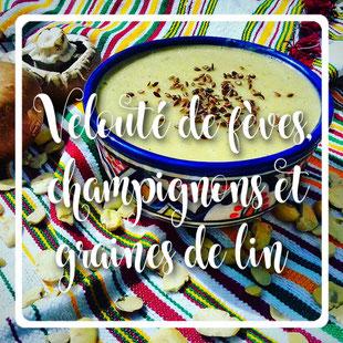 Velouté de fèves champignons et graines de lin bissara by kim-cuisinoouverte.com