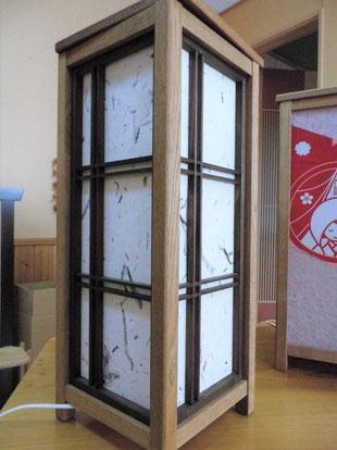木工品 行灯 ナラ材 組子 仁行和紙(木皮)オーダー