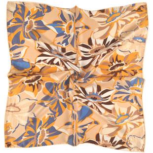 Seiden Halstuch beige hellblaue Blüten