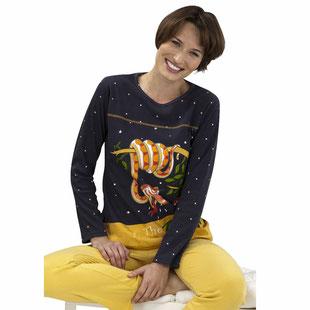 Damen Pyjama Schlangen Abbildung mit gelber Hose