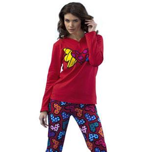 Damen Pyjama rot mit Herz Motiv