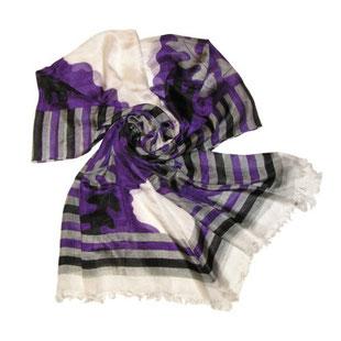 Seidenschal VISHPALA ivory violett grau