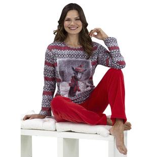 Damen Pyjama rote Hose Giraffen-Motiv