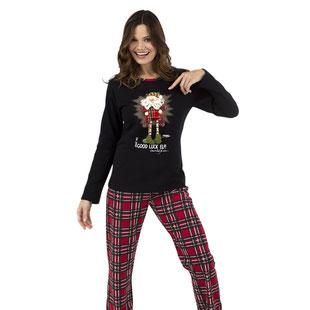 Damen Pyjama karierte Hose Oberteil mit Elfen Motiv
