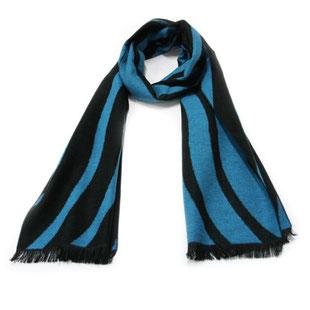 Dicker Winter Schal Seide schwarz blau