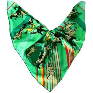 Miss Crimson Seidentuch Smaragd Grün Pferderennen