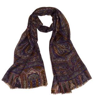 Wolle Schal COLABA Paisley violett indisch