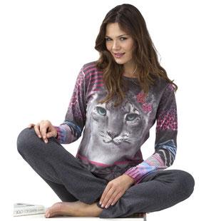 Damen Pyjama Löwen-Motiv mit grauer Hose
