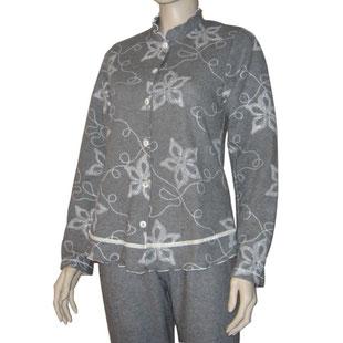 Damen Pyjama ROMY grau geblümt Baumwolle von Andra