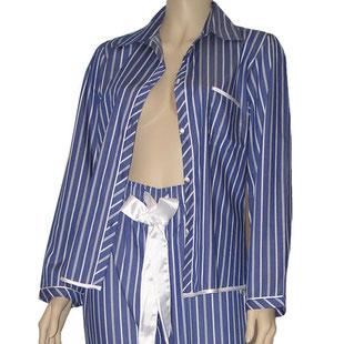 Damen Pyjama EMILY  marine blau weiß gestreift mit Schleife