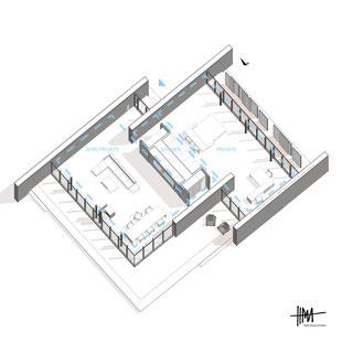 Modern open plan living around an efficient room divider by Heidi Mergl Architect
