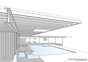 Case Study House No22 designed by Pierre Koenig - Graphic by Heidi Mergl Architect