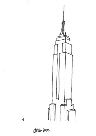 The Empire State Building sketched by Heidi Mergl Architect