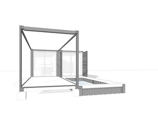 Small footprint home design, 3D outside sketch by Heidi Mergl Architect