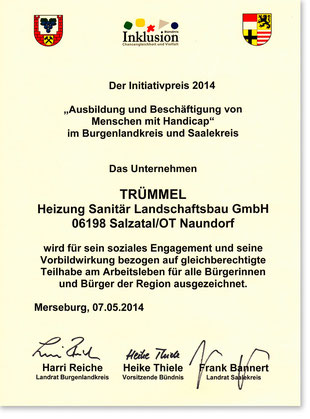 Urkunde Initiativpreis 2014
