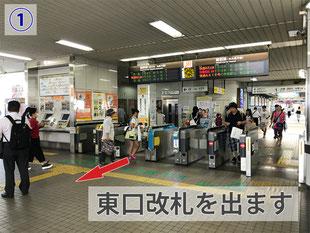桑名駅東口改札を出る