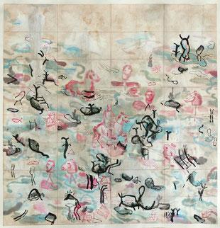 Bruno Patyn, Friends in glory nº 1,  Peinture - techniques de la peinture traditionnelle chinoise sur papier 72 × 73 (cm)