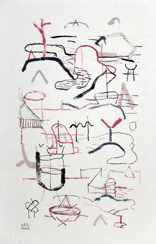 Bruno Patyn - Cosmogony nº 35A - techniques de la peinture traditionnelle chinoise sur papier 39 × 24 cm