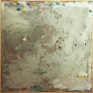 """Patrick Bilheran, """"Mandorle"""", peinture - pigments à la colle et crayon sur toile encadrée d'une baguette de bois naturel, 90 × 90 cm"""