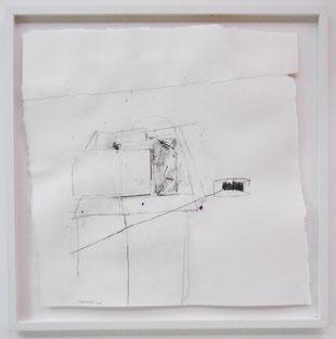 """Patrick Bilheran, """"sans titre"""", dessin de 2015 - fusain et colle sur papier encadré, 50 x 50 cm"""