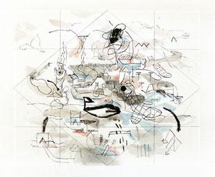 Bruno Patyn - Rhombus n°4 - techniques de la peinture traditionnelle chinoise sur papier 34 x 41 cm