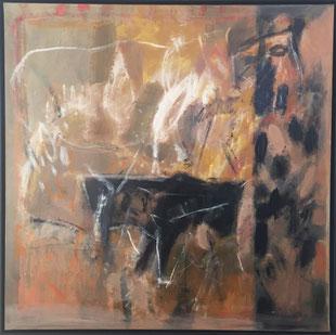 Jean-Claude Thuillier, La manade, huile / toile, 100 × 100 cm