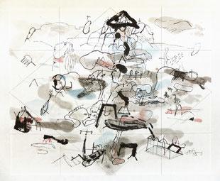 Bruno Patyn - Rhombus n°5 - techniques de la peinture traditionnelle chinoise sur papier 34 x 41 cm