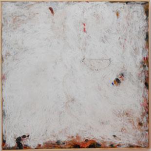 """Patrick Bilheran, """"Résurgences"""", peinture - pigments à la colle et crayon sur toile encadrée d'une baguette de bois naturel, 100 × 100 cm"""